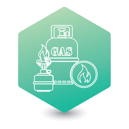 Camping stove with gas bottle icon. Vector illustration.   Stock Illustratie