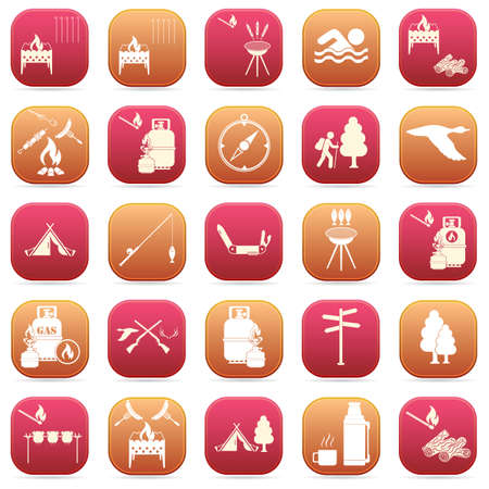 Set of travel and camping equipment icons. Vector illustration Stock Illustratie