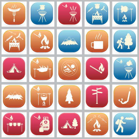 Set of travel and camping equipment icons. Vector illustration 向量圖像