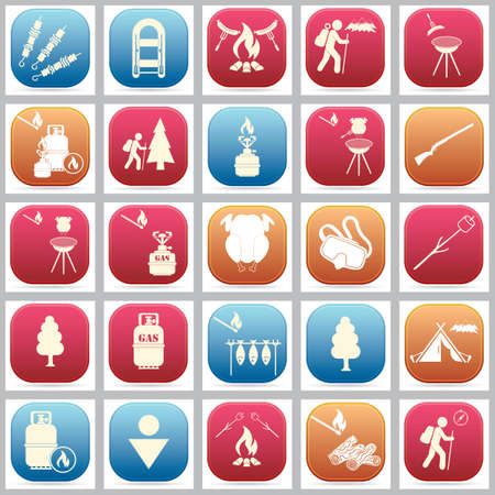 Set of travel and camping equipment icons. Vector illustration Ilustrace
