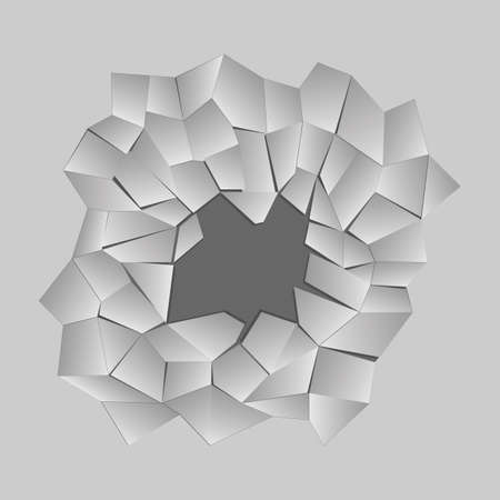 Dark hole in a wall or in the ground, ruined wall, vector illustration
