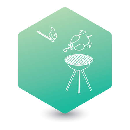barbecue grill with chicken icon. Vector illustration Ilustrace