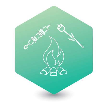 Brazier, zephyr and kebab icon. Illusztráció