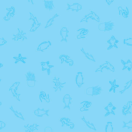 Ocean life, marine inhabitants outline icons,  seamless pattern
