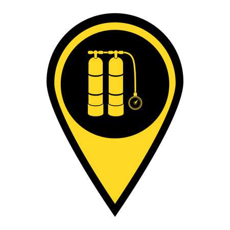 Scuba vector illustration. Diving equipment vector sign. Aqualung for swimming