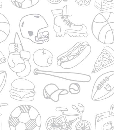 Set of food and sport items doodle icons. Seamless pattern. Vector illustration