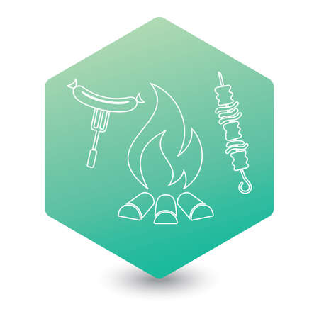 Grilled kebab and sausage icon. Vector illustration