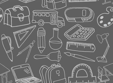 Vector seamless background. School icons in doodle style. Painted drawn on a gray background