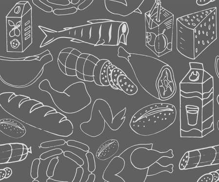 Set of Cookware items doodle icons. Seamless pattern. Vector illustration