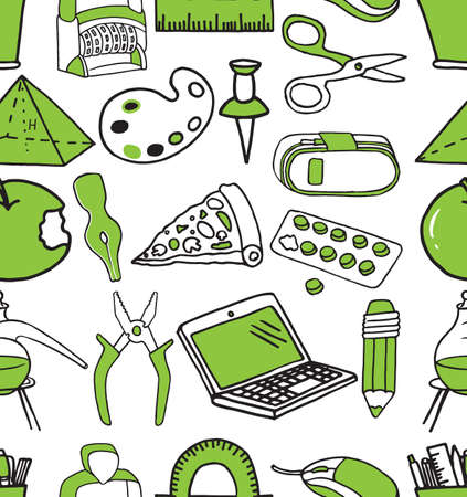 Hand drawn school supplies in seamless pattern.  illustration