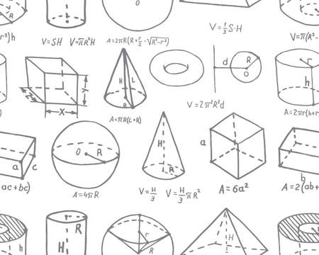 Volumetric geometric shapes with formulas depicted in a doodle style. Vector illustration 向量圖像