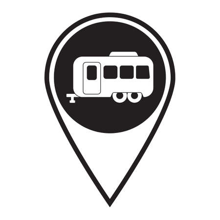 Camping trailer icon. Vector illustration  向量圖像