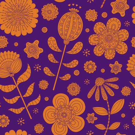 Floral seamless in folk stile. Hand drawn doodle. Vector illustration 向量圖像