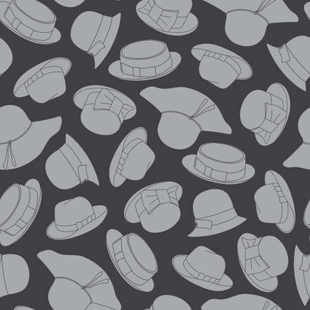 Seamless pattern with retro hats. Vector illustration 向量圖像
