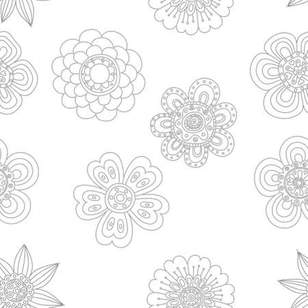 Seamless background. Flower in the folk style. Hand drawn doodle. Vector illustration