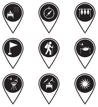 Set of map pointers with travel and camping equipment icons. Vector illustration Illusztráció