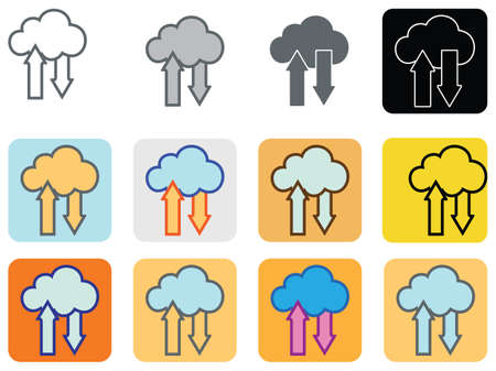 Cloud upload download flat icon sign logo set. Vector illustration