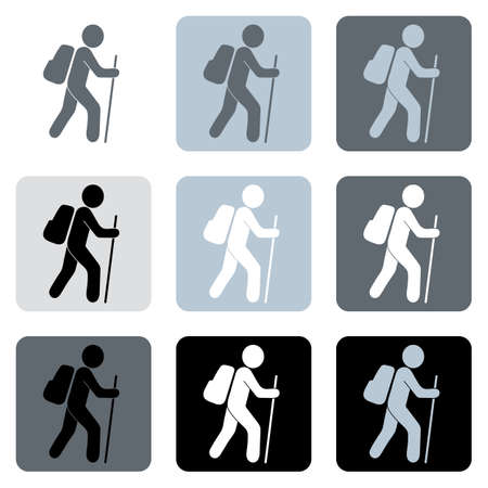 Hiking icon illustration isolated vector sign symbols set 向量圖像
