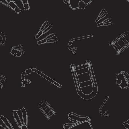 Seamless background. Diving ecuipment Icons. Tube for diving vector illustration isolated 矢量图像