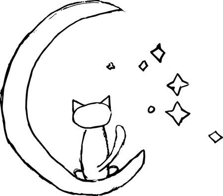A cat sitting on the moon. Stylization for a child's drawing. Vector doodle illustration 矢量图像