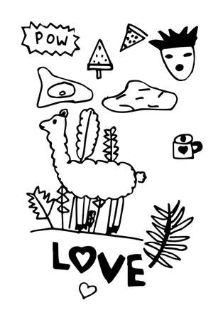 Doodle patch set. Stylization for a child's drawing. Vector illustration 矢量图像