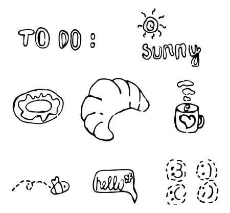 Doodle style icons set. Stylization for a child's drawing. Vector image