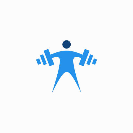 people muscle training vector logo 일러스트