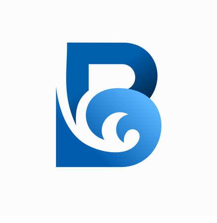 wave ripples letter b vector logo