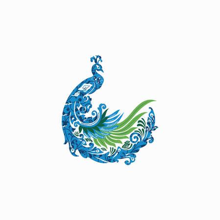 peacock batik bird vector icon