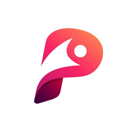 p logo forming happy people symbol Logó