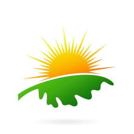 sun leaf logo design concept