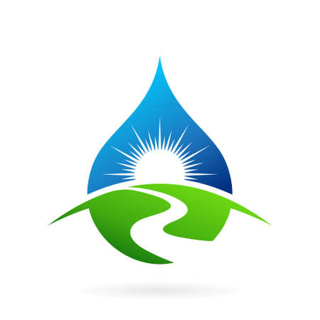 sun water drop river logo