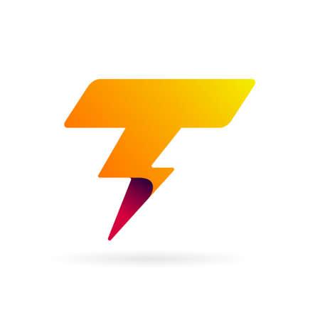 T logo with thunder symbol