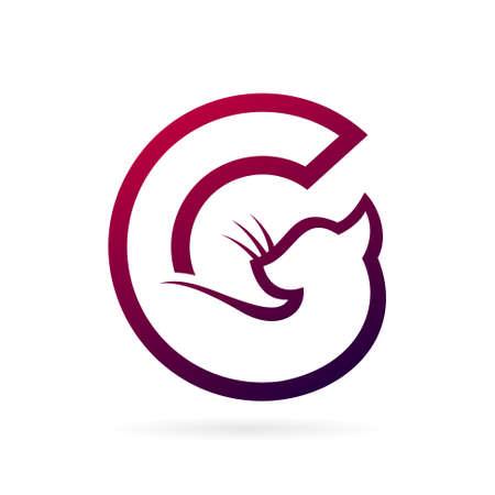 cat logo letter c symbol