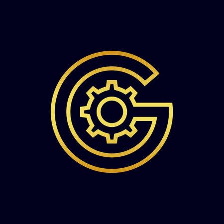 gold gear logo vector template
