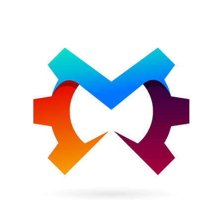 letter m logo with gear symbol