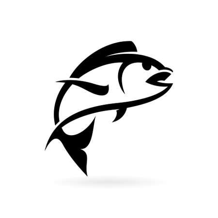 jumping fish logo vector template