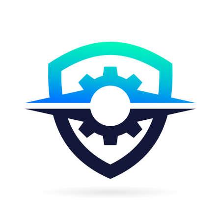 gear logo with shield symbol