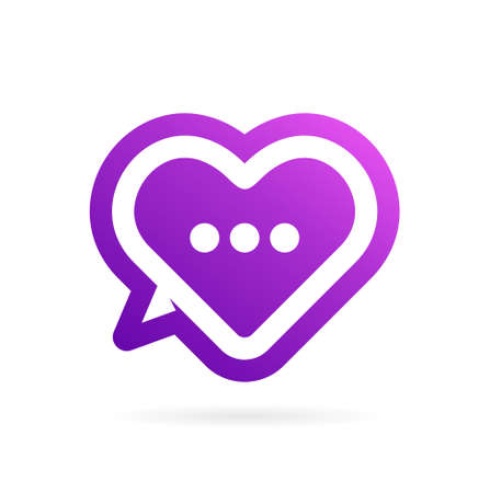 love chat logo vector icon