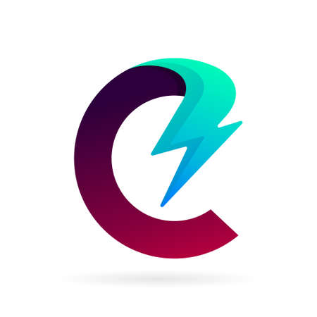 C logo with thunder concept