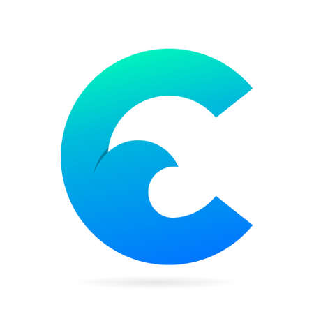 C logo with waves symbol Illustration