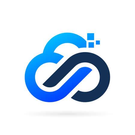 techno cloud logo with infinity symbol