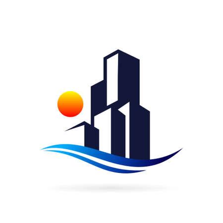 ocean logo with building symbol