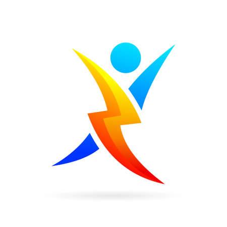 people logo with thunder symbol