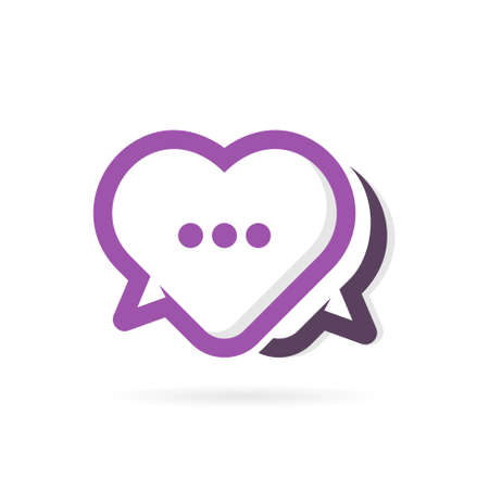 bubble chat logo with heart concept