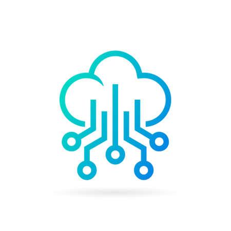 cloud logo with circuit symbol