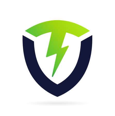 shield logo with thunder symbol