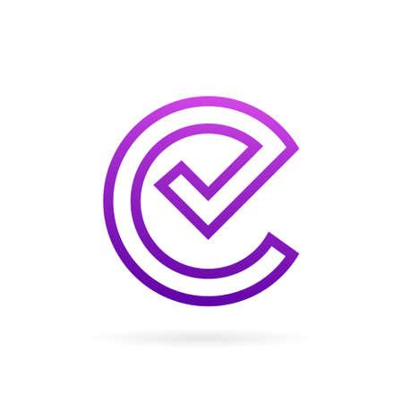 e check mark logo design template