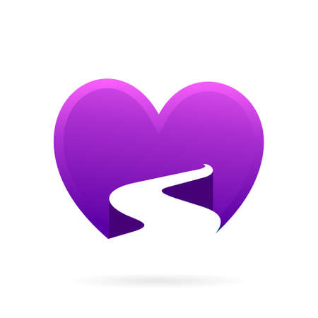 road in heart logo template Illustration
