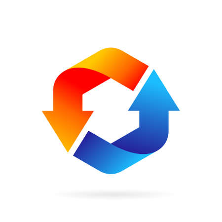 heat and cool arrows logo forming hexagon symbol